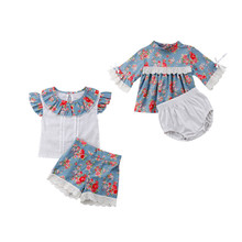 Summer Baby Girls Sisters Floral Lace Dress Tops Shorts Outfits