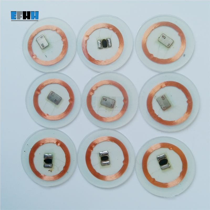 125KHZ EM4305/EM4205 Chip+Coil Diameter 25mm Transparent PVC Coin Card RFID ID Card In Access Control Card