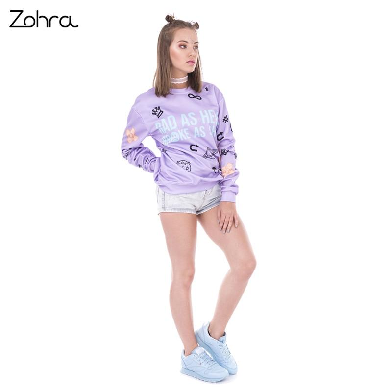 Zohra New Design Pullover Sweatshirt Rad As Hell Printing Women Hoodies Fashion Casual Sweatshirts