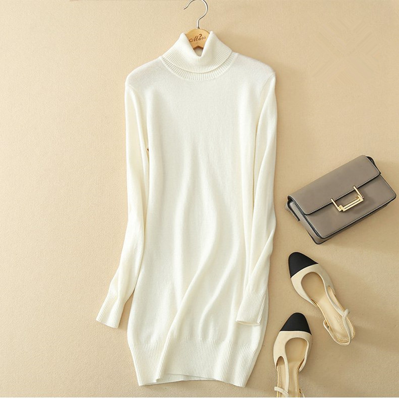 top grade 100%goat cashmere women's slim hip pack pullover sweater dress commuting mid long S 2XL