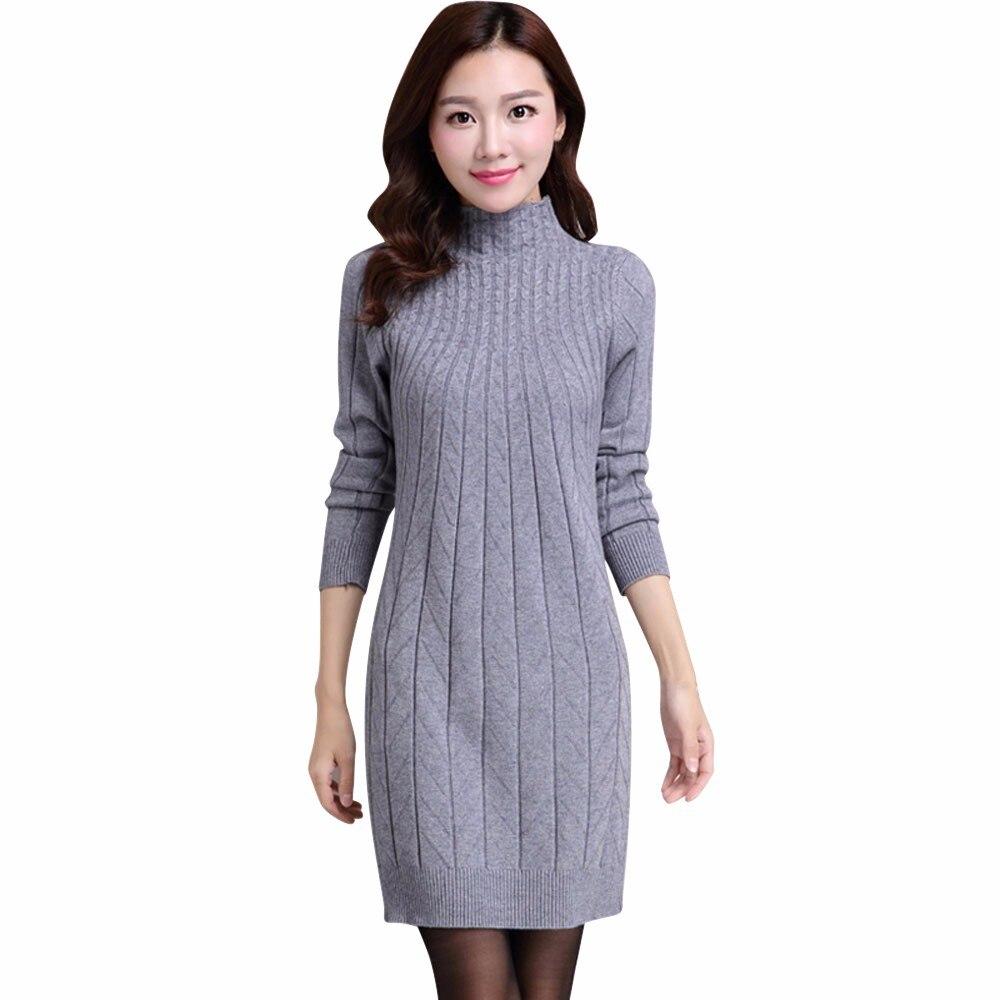 New Style Women Dress Free Size Slim High Collar Wool