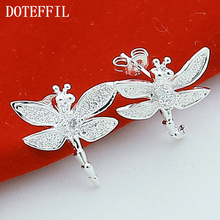 2016 Fashion 925 Sterling Silver Dragonfly Stud Earrings Jewelry Fashion Jewelry E151 fashion jewelry