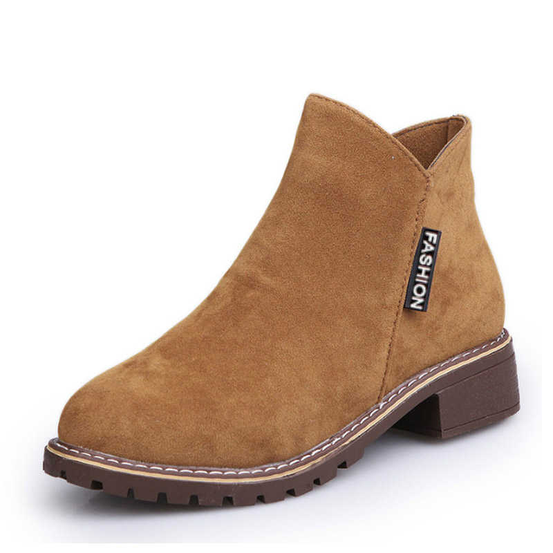 2018 Women Shoes Booties Woman Riding Equestrian Boots Ankle Zip Autumn  Winter Low Heels Work Office 6304771a7430