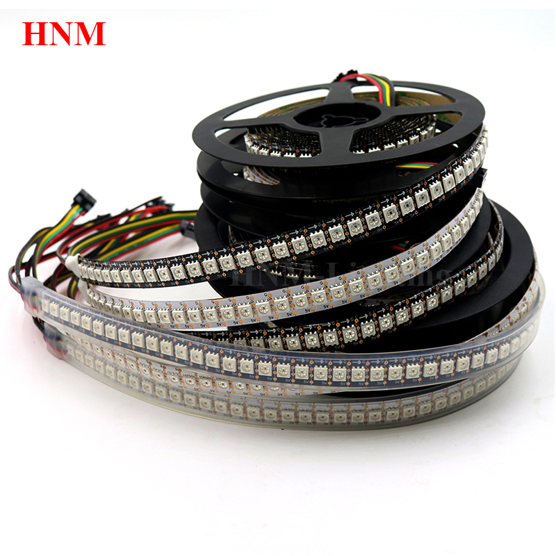 2M 144LEDs/m HD107S(Similar APA102/APA107)Addressable Digital RGB <font><b>LED</b></font> Strip <font><b>5050</b></font> SMD Pixel Light,White/Black PCB,IP20/IP65/IP67 image