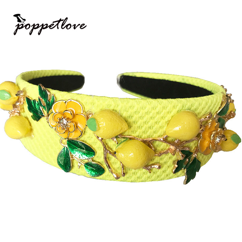 Baroque fashion runway cute yellow lemon flower green leaves headband for women luxury vintage Wideside hair accessories jewelry