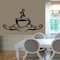 Coffee Mug Wall Decals Coffee Time Coffee Cup Vinyl Sticker Kitchen Decor