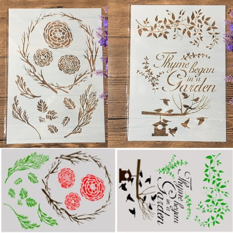 2Pcs/Lot A4 Flower Leaves Garden DIY Craft Layering Stencils Painting Scrapbooking Stamping Embossing Album Paper Template