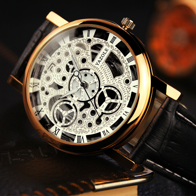 цена на YAZOLE Men Watch Top Brand Luxury Skeleton Wrist Watch Men Watches Hollow Men's Watch Clock erkek kol saati relogio masculino