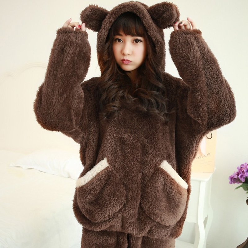 Autumn winter plus size flannel   pajamas   thick women sleepwear female coral fleece cartoon   pajama     sets   bear with hat