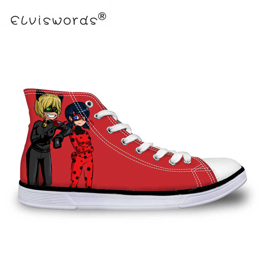 83f77f660c8d ELVISWORDS Ladybug Miraculous Women Vulcanize Shoes High Top Canvas Shoes  for Girls Flats Female Casual Shoes