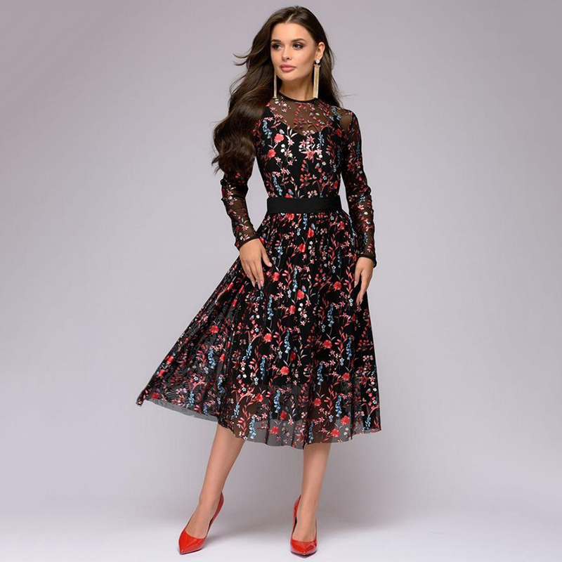 Sexy Women Floral Digital Printing knee length Dress Sheer Mesh Summer Boho A line Dress See through Black Dress 2019 Vestidos in Dresses from Women 39 s Clothing
