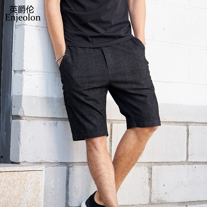 Enjeolon Brand Summer Casual Shorts Men Cotton Solid Shorts Male Available Knee Length High Quality Casual Shorts K6422