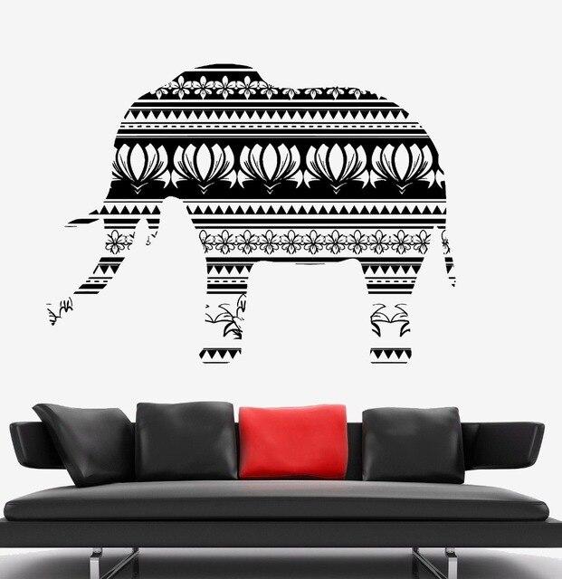 Afrikanischen Stil CreativeVinyl Kunst Design Elefant Religiöse Wandbild  Native Afrika Ornament Wandaufkleber Home Schlafzimmer DecorD