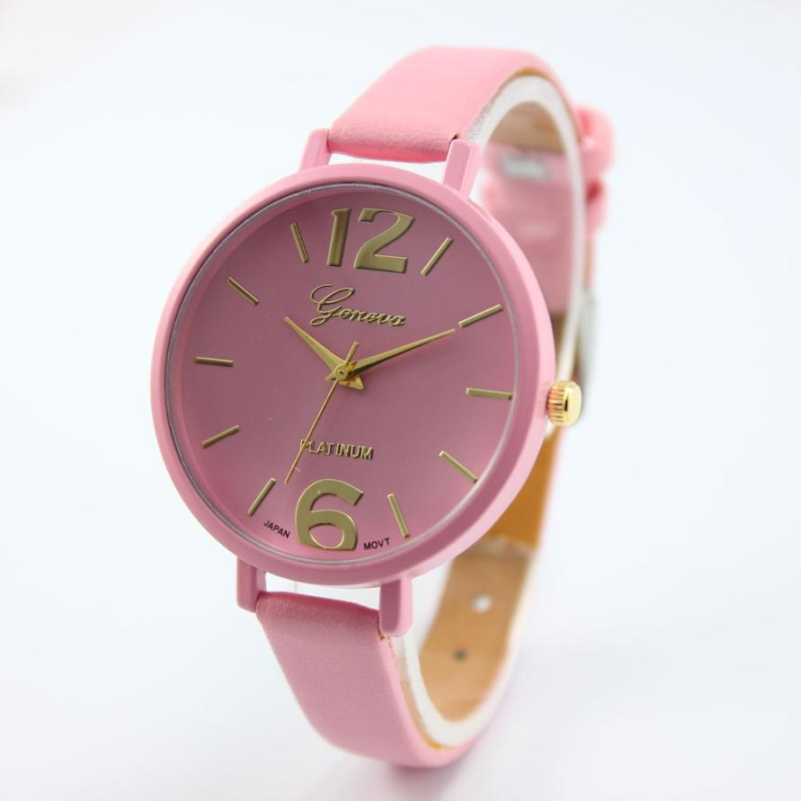 HOT Horloge Watches Relogio Feminino Faux Leather Analog Quartz Wrist Women Watch New Design 2017May9 hot unique women watches crystal leather bracelet quartz wrist watch mujer relojes horloge femmes relogio drop shipping f25