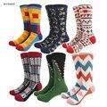 Novo colorido Meias de Algodão Da Marca Tide Estilo Geometria Labirinto Engraçado mens joelho alta tripulação longo tubo happy socks meias do presente do natal