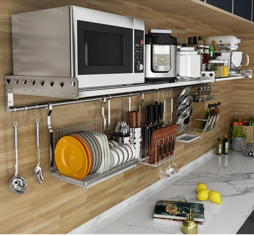 Wall mounted kitchen rack single layer oven rack wall 304 stainless steel microwave oven rack
