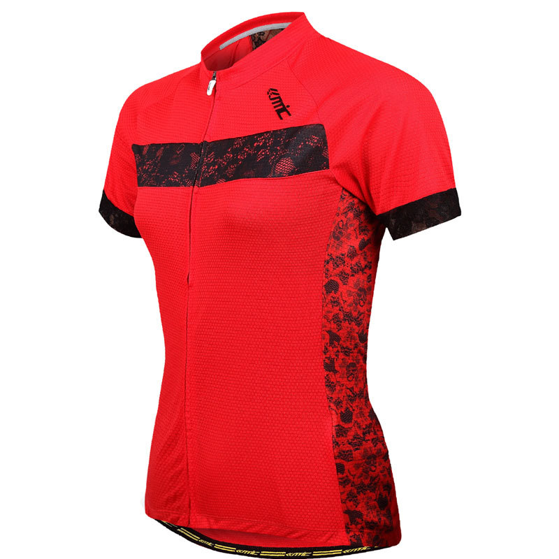 ФОТО SANTIC Outdoor Riding Sportswear Women Cycling Bicycle Jersey Short Sleeve Lace Mesh Shirts Breathable Comfortable*