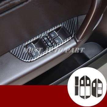 Carbon Fiber Car Door Window Switch Button Trim Cover For VW Touareg 2011-2018