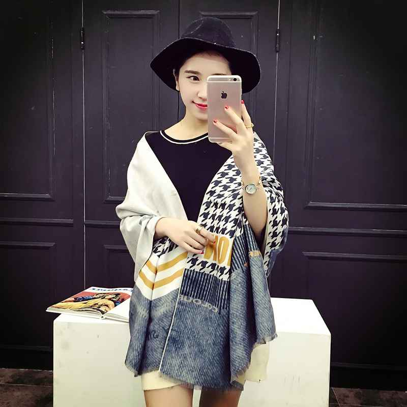Winter Casual Blanket Scarf Houndstooth font b Tartan b font Patchwork Scarf Luxury Brand Women Cashmere