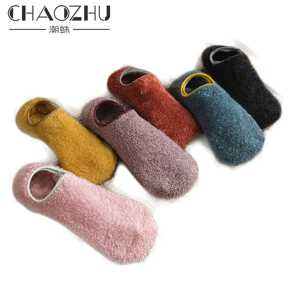 CHAOZHU 1 Pair Women Autumn Winter Home Warm Floor Velvet Low Cut Ankle Socks Thicken Hairy Soft No Show Socks Winter Women