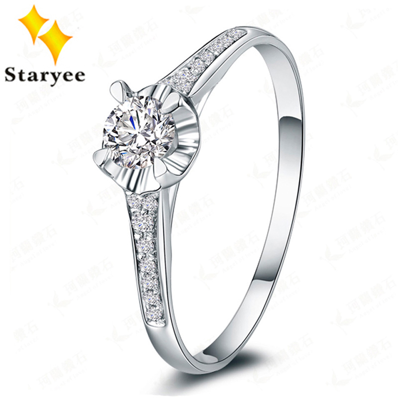 Certified 0.3CT VS DEF Charles Colvard Moissanite Engagement Rings Real 18K Solid White Gold Diamond Wedding Jewelry For Women