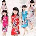 Vestido de las muchachas de Flores De Seda Cheongsam de Seda Vestido de Niña Ropa Elsa Chicas Ropa Sofia Princesa $ number años de edad Verano Nueva