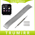 24mm Stainless Steel Elastic Watchband for Sony Smartwatch 2 SW2 Replacement Watch Band Strap Bracelet with Tool and Spring Bars