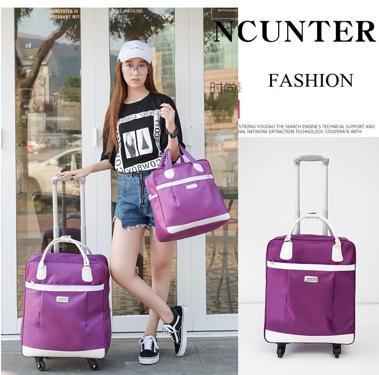 Women wheeled bags Travel trolley bags with travel handbag Nylon large capacity Travel Rolling Luggage bag wheels with handbag