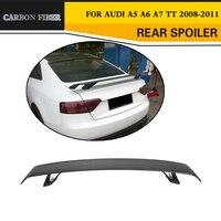 Carbon Fibre Rear Trunk Spoiler Lip Wing for Audi A5 A6 A7 S7 RS7 Sedan TT 2 Door Convertible 08 11 Black FRP