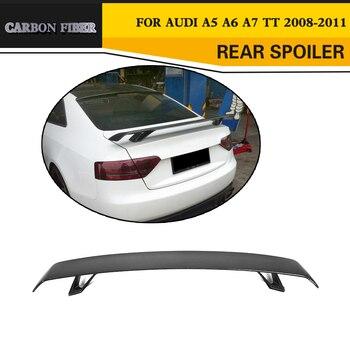 Tylny spojler z włókna węglowego przedni spojler skrzydło dla Audi A5 A6 A7 S7 RS7 Sedan TT 2 drzwi kabriolet 08-11 czarny FRP