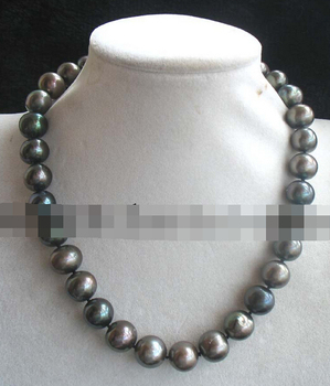 """Jew2426 wholesale freshwater pearl near round 12-14mm necklace 17"""" nature"""
