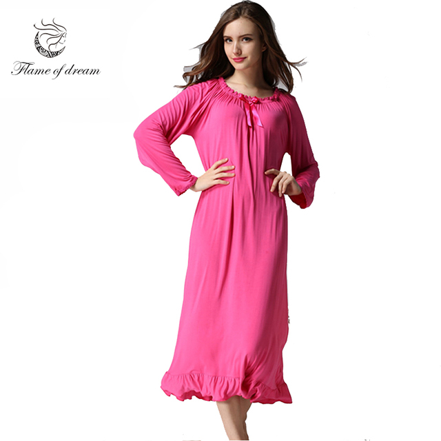 Aliexpress.com : Buy Long Nightgown For Autumn Cotton Material M 2xl ...
