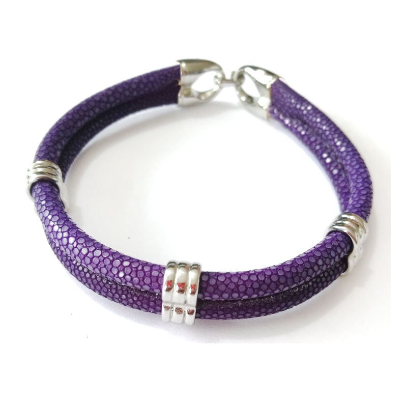 (10pcs) Men jewelry 5mm Purple stingray leather bracelet with Silver stainless steel Round buckle bracelets & bangles Watch