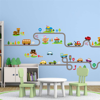 Cartoon Cars Highway Track Wall Stickers For Kids Rooms Sticker Children's Play Room Bedroom Decor Art Decals 1