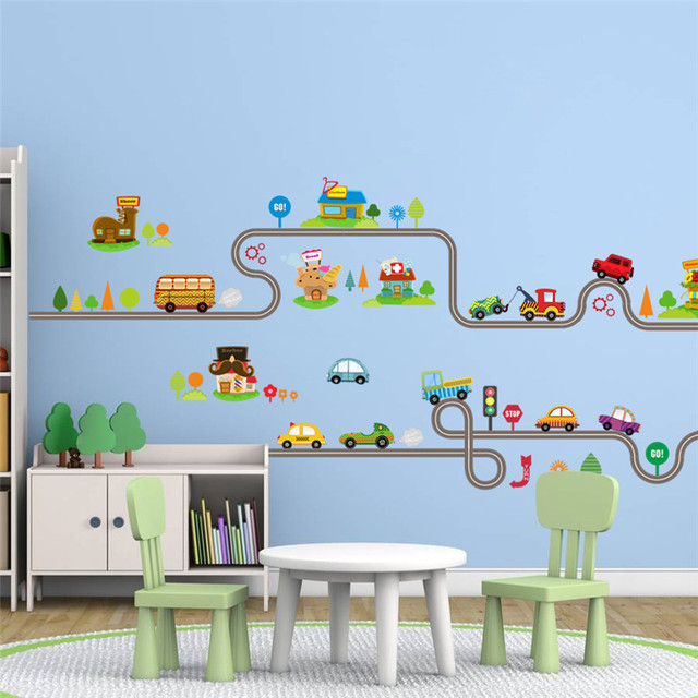 Cartoon car bus highway track wall stickers for kids rooms childrens bedroom living room decor wall