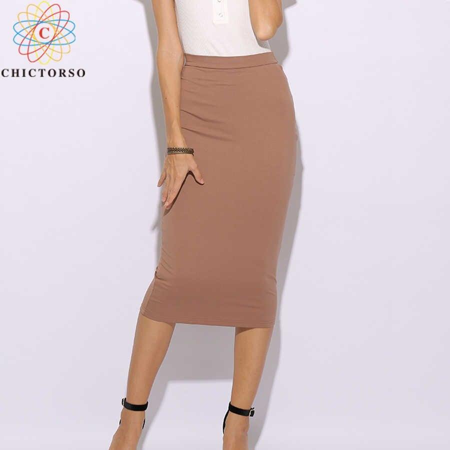 b1f9c447a2c4 Chictorso 2 Layers Cotton High Waist Skirt Bodycon Midi Skirt Plus Size  Sexy Long Pencil Skirt