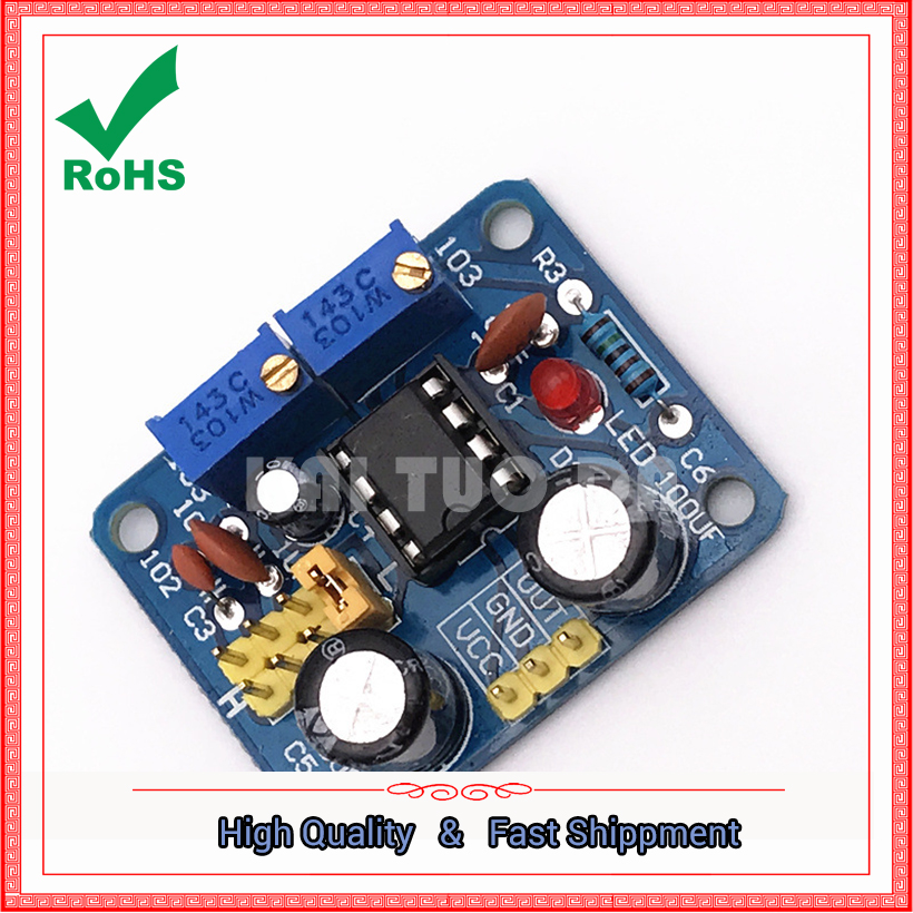 NE555 pulse module frequency duty cycle adjustable square wave rectangular wave signal g ...