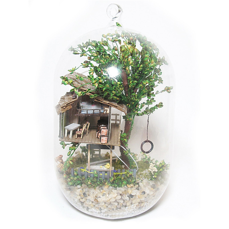 DIY Glass Ball Summer Morning Handmade Handcraft Wooden Dollhouse Mini Miniature Furniture Forest Building Home Decoration SC02
