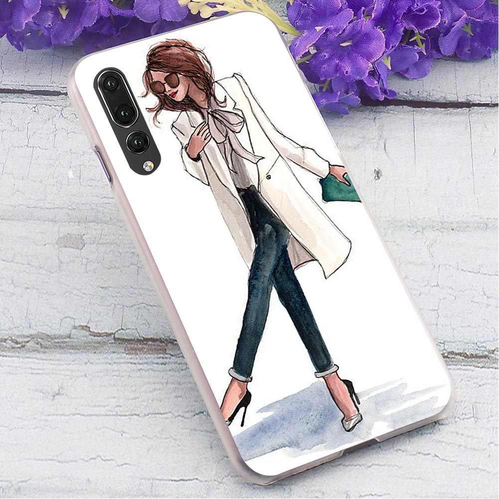 ピンクガールハードケース huawei 社 P10 Lite 印刷電話のカバーのため P20 プロ 1080p スマート 2019 メイト 10 lite の裏表紙カバー