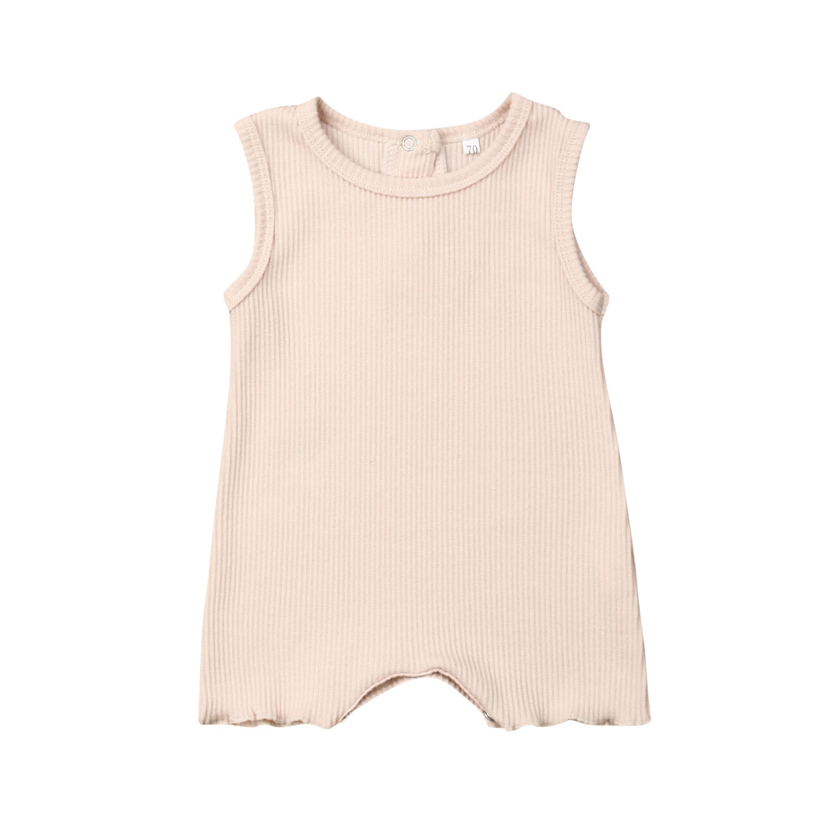 0 24M Unisex Toddler Baby Summer Romper Sleeveless Solid Color Knitting Back Button Cotton Playsuit Casual Cute Baby Clothing in Rompers from Mother Kids