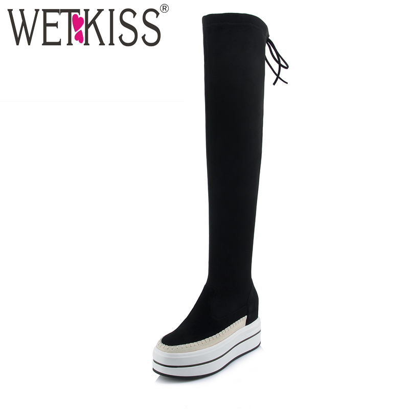 WETKISS Genuine Leather Suede Autumn Boots Sexy Legging Over The Knee Boots Flat Platform Women Shoes Height Increasing Zipper ppnu woman winter nubuck genuine leather over the knee snow boots women fashion womens suede thigh high boots ladies shoes flats