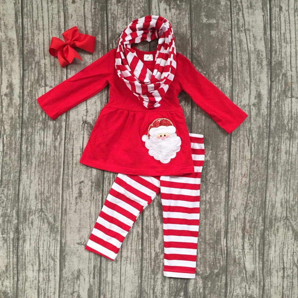 baby winter girls 3pieces with scarf boutique red Santa claus striped children cotton clothes pom pom top outfits match clip bow embroidered tape and pom pom trim halter top