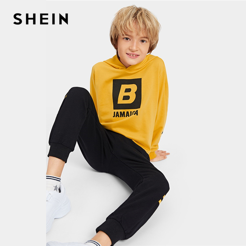 SHEIN Kiddie Boys Letter Print Hooded Top And Elastic Waist Pants Child Outfits 2019 Summer Long Sleeve Casual Clothes Suit Sets letter print elastic waist training fitted narrow feet quick dry men s pants
