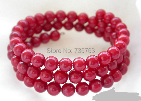 xiuli 00418 Extendible 6mm round red coral bead Bracelet