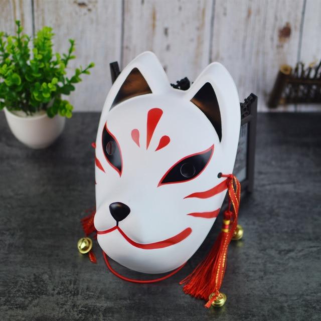 Full Face Hand Painted Naruto Hatake Kakashi Anbu Red Japanese Kitsune Cosplay Fox Masks Halloween Cartoon Character Costumes