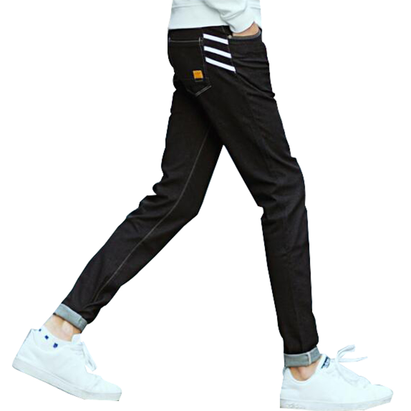 Spring Summer 2017 Men Jeans Black Pencils Pants Striped Mens Classic Homme Slim Stretch Yong Man Trousers 36