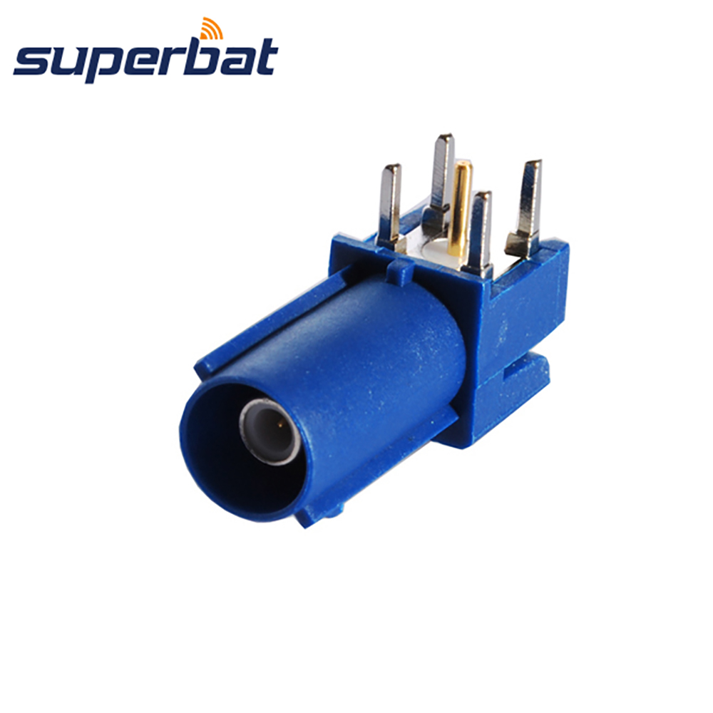 Superbat Fakra Blue/5005 Male Plug PCB Mount Right Angle RF Coaxial Connector For Car Boat RV Antenna GPS Telematics Navigation