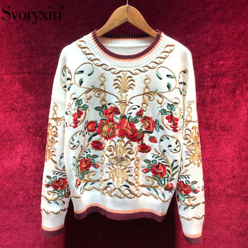 Svoryxiu haute qualité laine mélange pull pull femmes de luxe Floral broderie automne hiver piste épais tricot pull