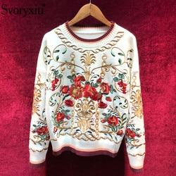 Svoryxiu, jersey de mezcla de lana de alta calidad, suéter de lujo para mujer, bordado Floral, Otoño Invierno, pasarela, Jersey de punto grueso