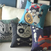 Cat kitten animal gifts Cartoon Art cotton cushion cover animals pillow cover for car office home Decor sofa cushions 1PCS